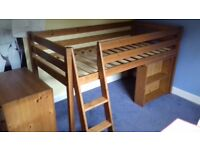 Pine cabin bed with built in desk and bookcase - Good condition - fit standard single matress
