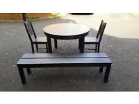 Ikea BJURSTA Round Extending Table 155/166cm 2 Chairs & 1 Bench FREE DELIVERY (03075)