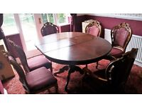 Italian Inlaid Dining Table with six chairs (Louis Style) - extendable - High Gloss Finish