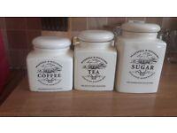 Ceramic Tea, Coffee, Sugar Jars