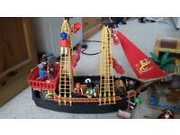 Playmobil Pirate Ship and Treasure Chest Island. Plenty of pirate figures and all the extras