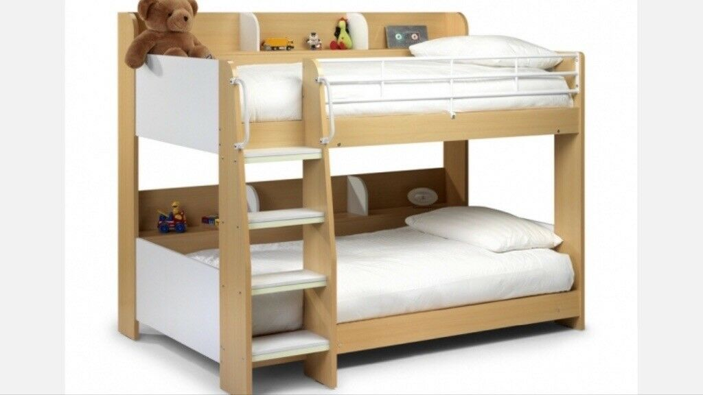 Wooden Bunk Bed Kids Children Furnature With Storage Shelves And