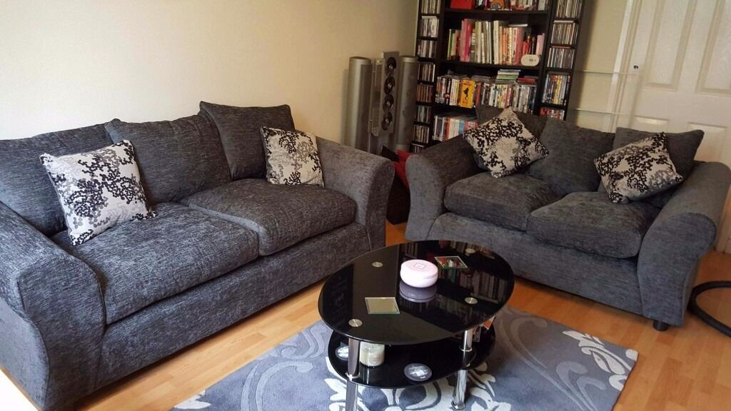 Argos Clara Large And Regular Sofas Charcoal Grey