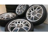 """Silver 17"""" multifit 4x100 4x108 alloy wheels with excellent tyres! HONDA VAUXHALL VW FORD CITROEN"""