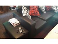 Sofa black faux leather corner group sofa,few months old selling for £250 bought for £400 vgc