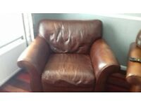 Brown leather 2 seater sofa and extra wide arm chair