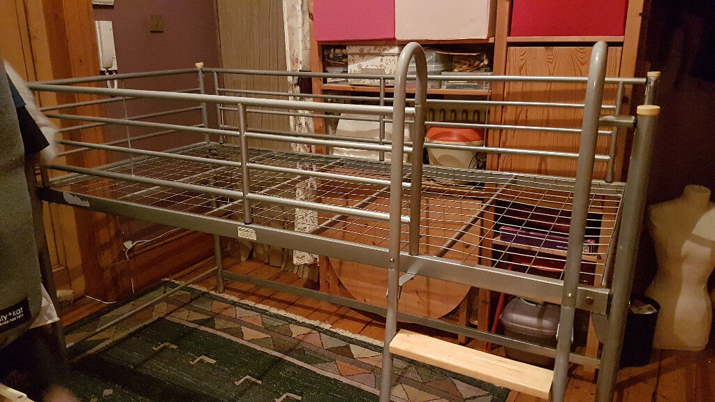 High Sleeper Half Bunk Bed Metal Frame With Steps No Mattress Will