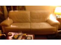cream leather sofa in excellent condition free to collector