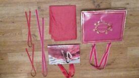Genuine SET of 2 Estee Lauder Red/Gold Paper Carrier/Gift Bags+Branded Ribbon