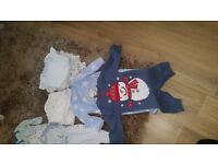 Bundle of baby vests, baby grows, hats, sleep suit and Xmas outfit