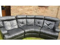 DFS black leather recliner sofa