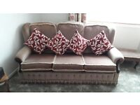 Taupe/biege three piece suite with reversable covers