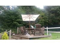 Parasol, large cream rectangle 3m x 2m. Solid heavy duty wood frame. NEW, BOXED