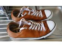 Brown leather converse trainers size 9