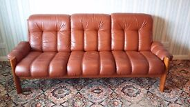 Matching 3 seater Brown leather sofa, single arm chair plus foot stool