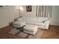 Ex-display Natuzzi Sensor light cream leather electric recliner chaise sofa and footstool