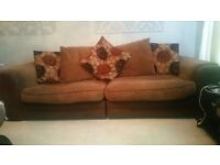 2 sofas, stool and glass coffee table set.