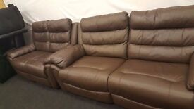 Chocolate Brown real leather 3+2 seater reclining sofa.