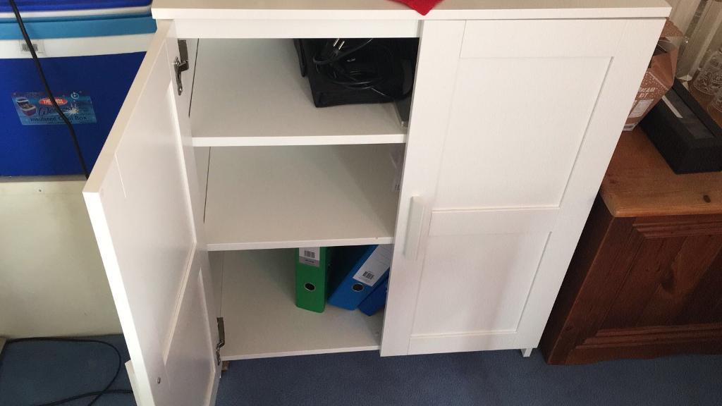 White cabinet.