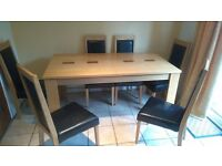 Extendable solid wood dining table and six chairs