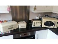 Cream microwave, toaster, bread bin and biscuit tin