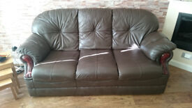 Leather Sofa Set for Sale. Three seats sofa + two armchairs