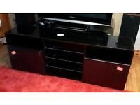 TV Stand in Black Gloss and Black Metallic High Gloss Doors
