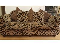 large 2/3 seater sofa tiger print