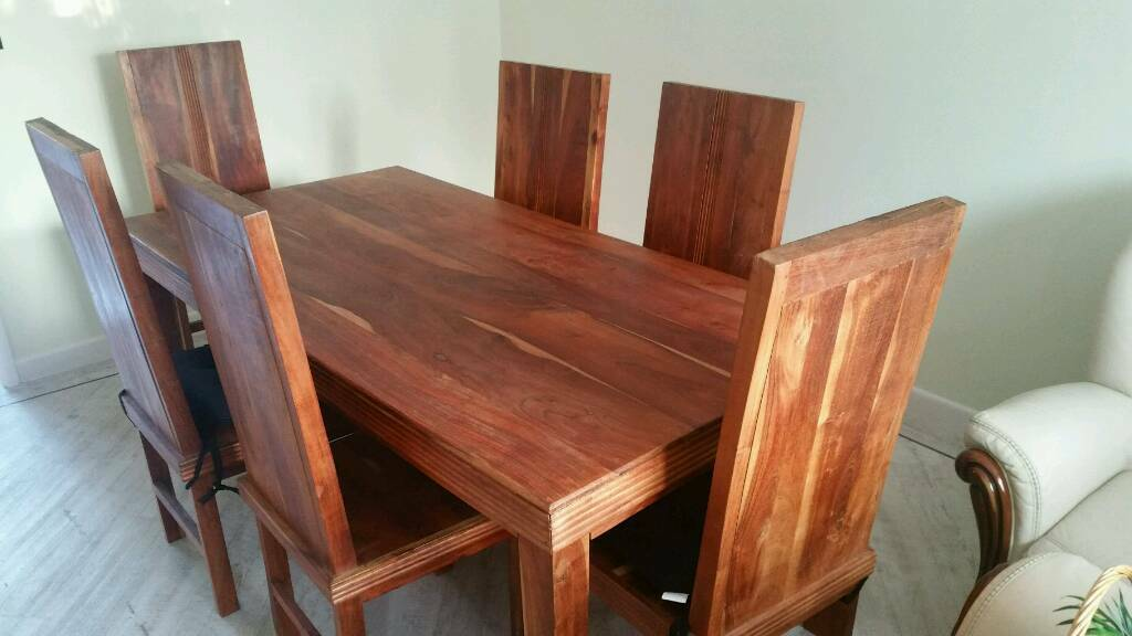 Hardwood Dining Table Six Chair With Match Smoking Hull