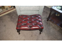 Chesterfield Style Deep Button Footstool (Leather).