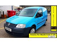 Finance-£125 P/M - VW-Volkswagen Caddy C20 2.0 SDI SWB Van -Air Con- 1 Owner-Bgas 37K- FSH- 1YR MOT