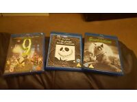 Blu rays time burton nightmare before christmas frankenweenie and 9