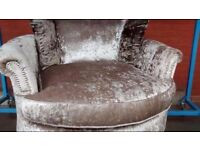 beautiful gold and bronze crushed velvet swivel chair