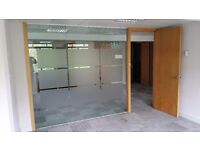 Used Toughened Glass Partition System with Wooden Door & Frames £325
