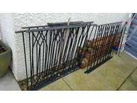 Iron fence railings x 9 and posts from decking