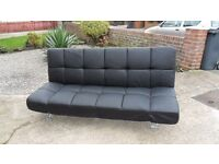 """Black Faux Leather Sofa Bed """"FOR SALE"""" MUST SELL"""" £60 OR NEAR OFFER"""""""