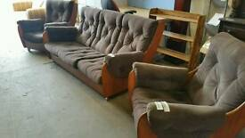 G plan 1970s 3 piece suite professionally recovered. Retro teak