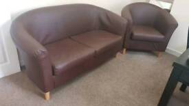 Brown leather 1&2 seater couches