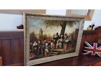 large antique oil painting , late 19th century, dutch village scene