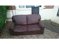 Brown swede 2 seater sofa bed for sale need gone asap