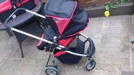 Icandy pushchair, carrycot, footmuff + 2 raincovers