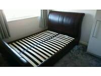 King size brown leather sleigh bed