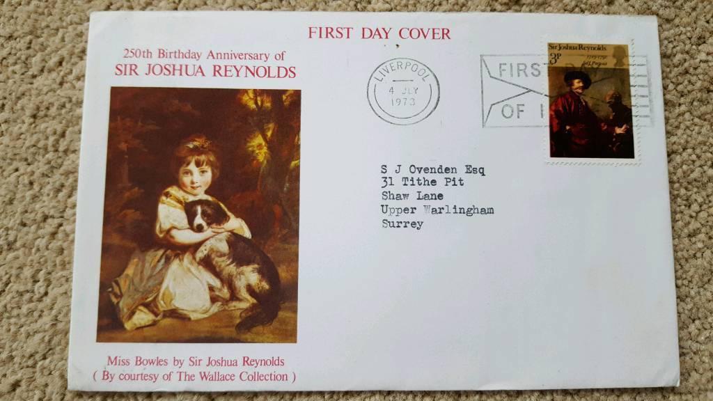 250th BIRTHDAY ANNIVERSARY OF SIR JOSHUA REYNOLDS FIRST DAY COVER