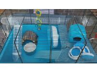 Hamster / gerbil two tier cage and accessories
