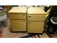 Light Wood Filing cabinets (pair)