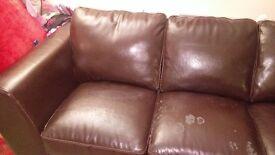 Bi-cast 3 seated leather sofa