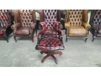 Stunning oxblood leather chesterfield captains chair UK delivery CHESTERFIELD LOUNGE