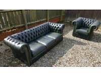 Chesterfield sofa 3 seater and club tub chair green leather antique vintage