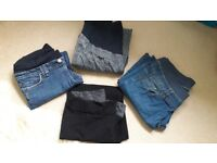 3 pairs maternity jeans & 1 pair black maternity trousers