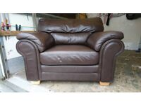 Large Real Brown Leather Comfortable Arm Chair